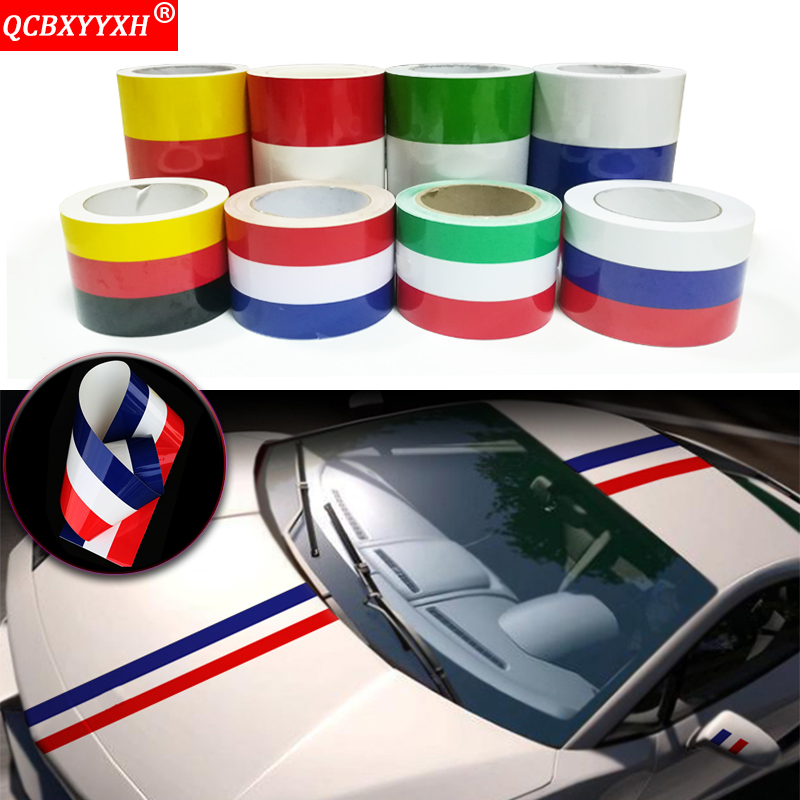Car Styling 7.5cm/15cm*100cm Russia German France Italy Flag Stripe Decal Bumper Car Body Stickers For Toyota Lada VW and so on