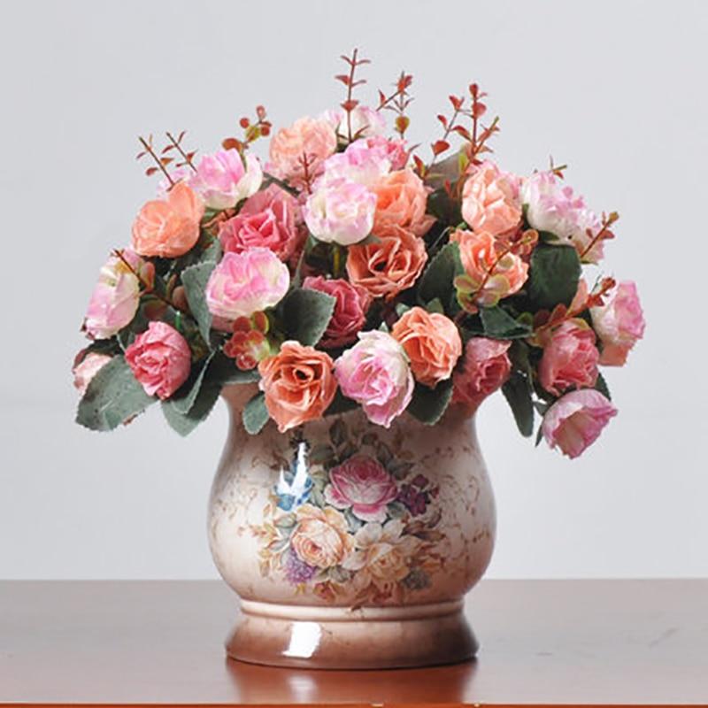 1Set Artificial Flower Rose Bouquet 25cm Belly Floral Ceramic Vase Vintage Wedding Home Shop Decoration Fake Flowers 4Color