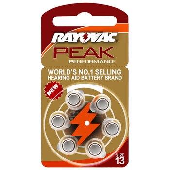 6 Pcs Rayovac Peak Zinc Air Hearing Aid Batteries 13A A13 13A 13 P13 PR48 Battery for BTE Hearing aids