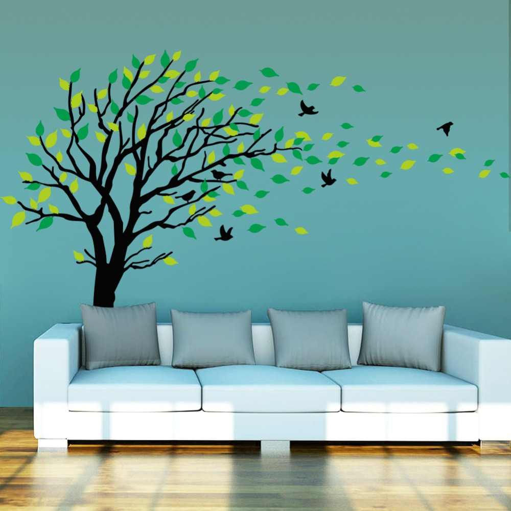 Super big Green tree wall sticker TV background pvc wall art stickers living room bedroom home decorations mural diy decals