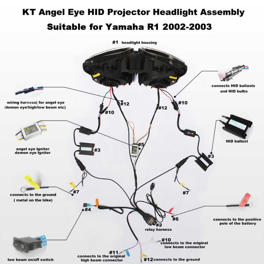kt headlight for yamaha yzf r1 2002 2003 led angel halo eye rh aliexpress com Home Theater Projector Wiring Home Theater Projector Wiring