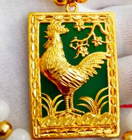 24K plated gold chains men domineering Vietnam Gold Necklace Pendant Zodiac  gold Rooster   does not fade