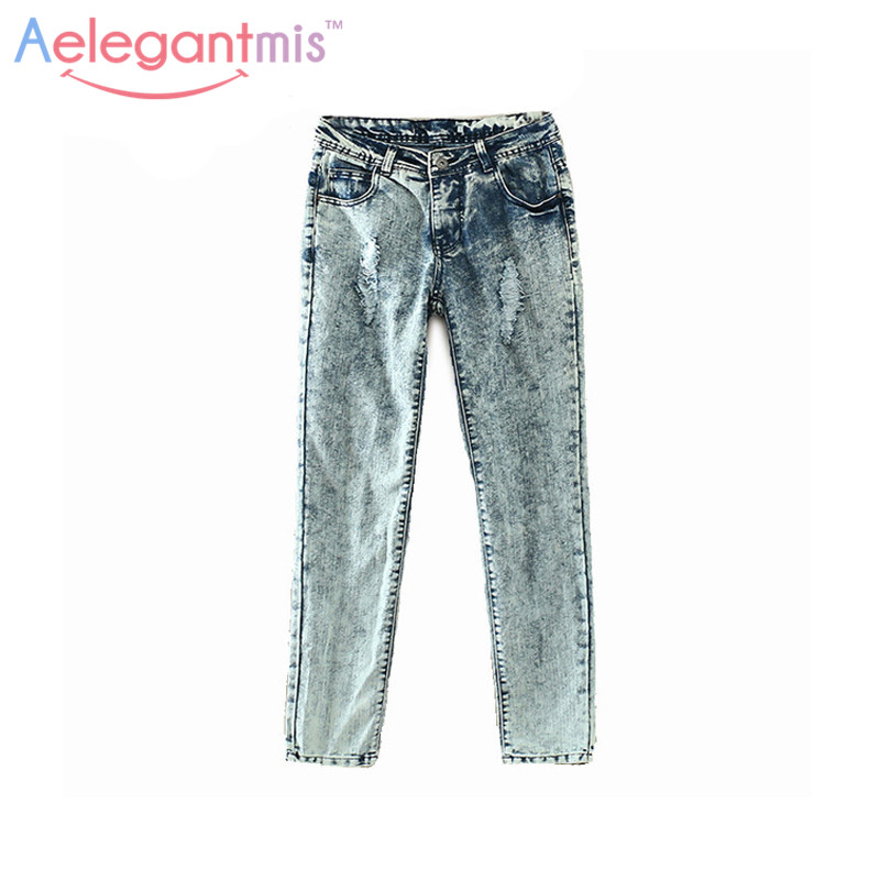 Aelegantmis Hole Ripped Jeans Women Female Trousers
