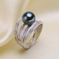 925 Sterling Silver Pearl Ring Finger Ring Hot Settings Adjustable Ring Findings Jewelry Parts Fittings Accessories, 3pcs/lot