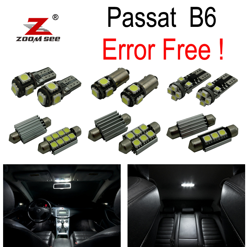 16pcs error free for Volkswagen VW Passat B6 Sedan Wagon LED bulb Interior dome map Light Kit (2006-2011) for jeep commander 2006 2010 premium led interior map light kit license plate light full package 12pcs error free