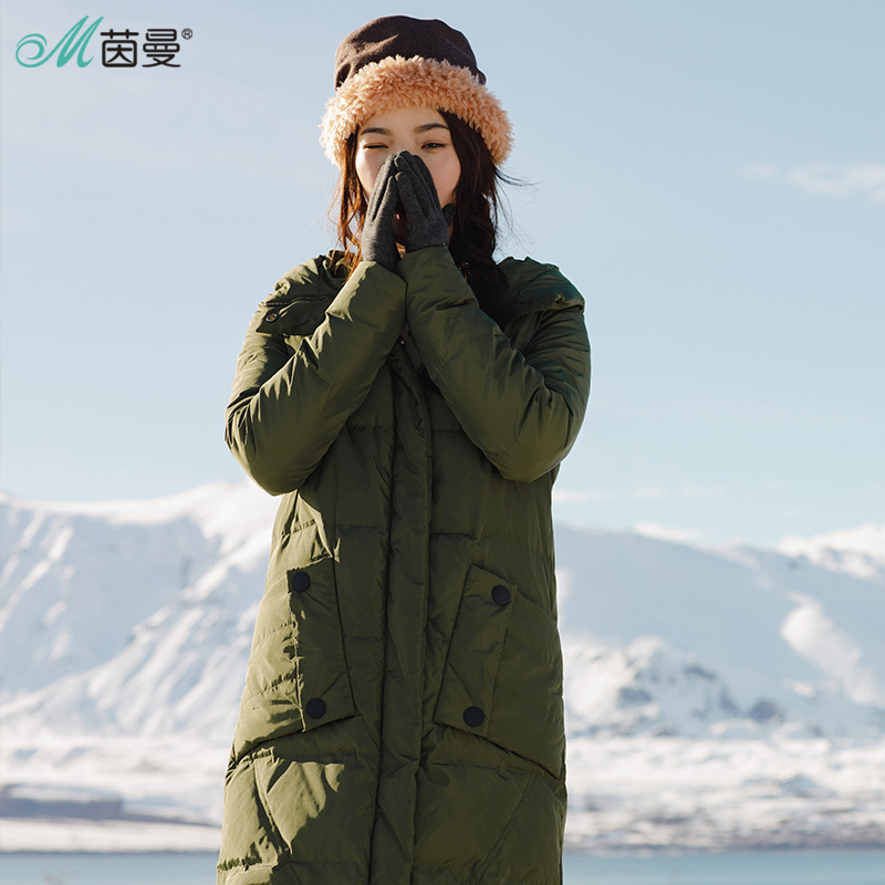 INMAN Women's Winter New Hooded Stand Collar Long Warm   Down     Coat