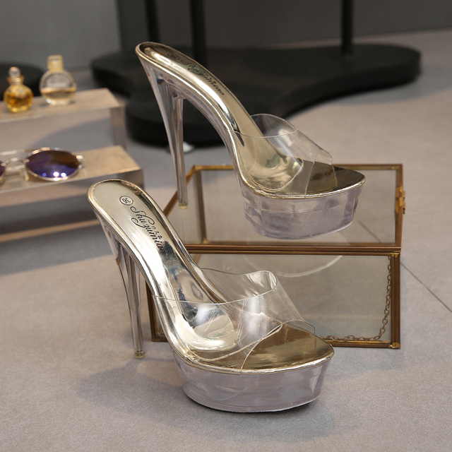 7be7ee8afaa US $38.0 |Shoes Women Steel Tube Dancing Sandals 2018 Crystal Slipper Slide  High Heels 15cm Transparent Waterproof Cool Slippers Fine with-in Slippers  ...