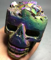 951g Purple &Blue Aura Natural Carving Skull Titanium Silicon Rainbow CRYSTAL pokemon figures