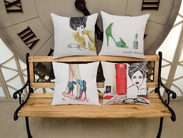 Modern high heels pattern series linen pillowcases,Home sofa cushion cover,Car seat cushion cover