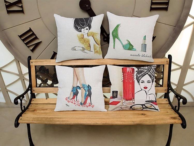 Modern high heels pattern series linen pillowcases,Home sofa cushion cover,Car seat cushion cover