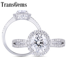 Transgems 14K 585 White Gold 1ct 6X7mm F Color Oval Cutting Halo Moissanite Engagement Ring with Accents for Women Wedding Gifts цена в Москве и Питере