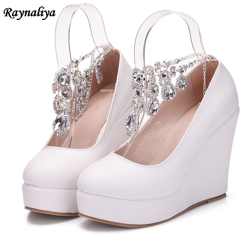 8eed17ea309 HOT SALE] Crystal Queen White Wedges Wedding Pumps Sweet White ...
