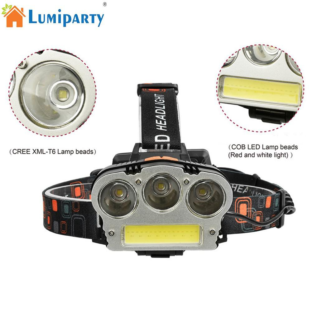 LumiParty USB Charging T6+COB LED Strong Light Headlight Fishing Camping Lamp Outdoor Activities (Red & White Light)