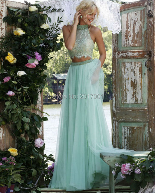 2016 New Stylish Appliques Perspective Beaded Bodice Waist Elegant Lace And Tulle Chic 2 Pieces Prom Dress