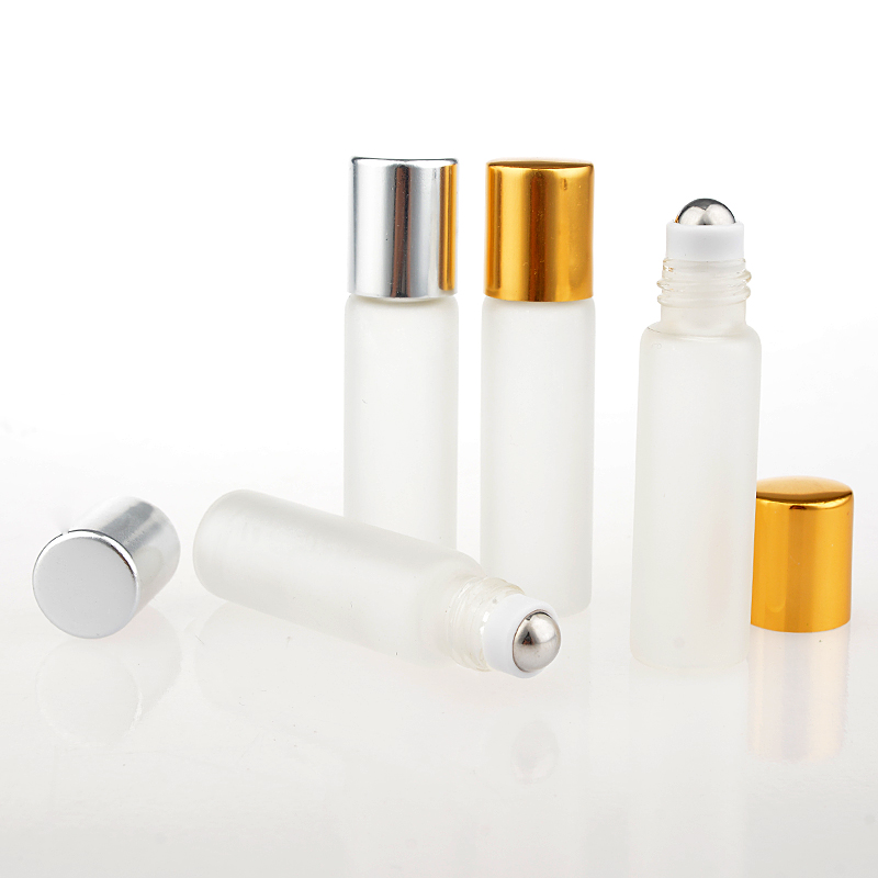 100Pieces/Lot 5ML  Travel Frosting Glass Roll on Perfume Bottle For Essential Oils  Empty Cosmetic Containers  With Steel Beads