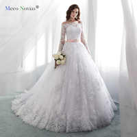 MN819001 White 2019 Vintage Wedding Dresses Long Sleeves Lace Applique Court Train Wedding Gowns Custom Made Bridal Dress