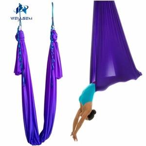 Image 5 - 20 kleuren keuze 5 m/sets Antenne Vliegende Anti gravity Yoga Hangmat Swing Yoga body building workout fitness apparatuur freedrop