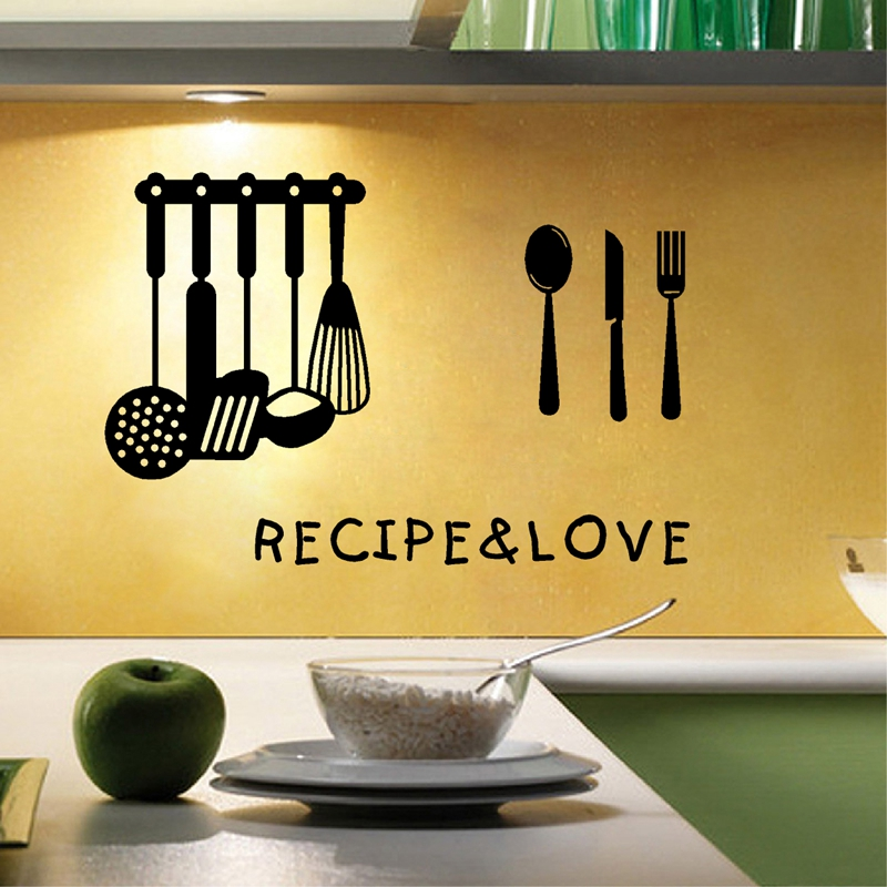 i story] free shipping Kitchen Cooking Tool vinyl wall art decals ...