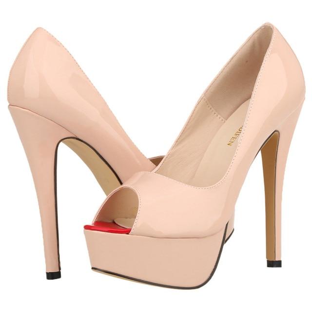 sports shoes 9a008 cc4e3 Loslandifen Womens Pumps Patent Leather Platform Stiletto Red Bottom High  Heels Open Toe Party Shoes Customize Sole Color 817 16