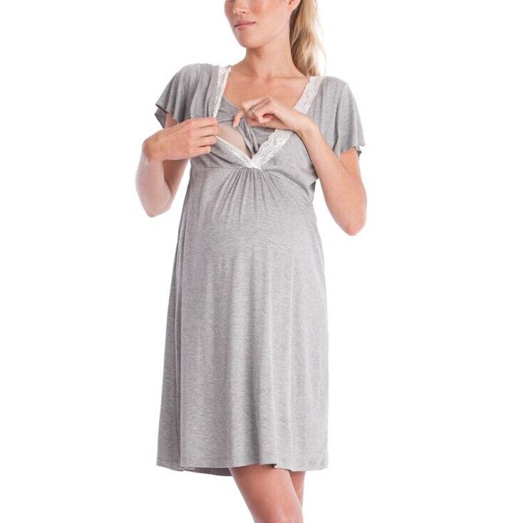 Pregnancy&maternity Pajamas Sleepwear Nursing Pregnant Pajamas Breastfeeding Nightgown Elegant Maternity Nursing Clothes DressXL