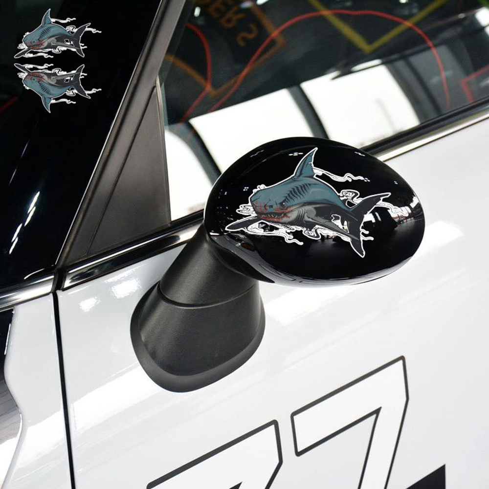 2 X Reflective Car Sticker 3D Tiger Shark Funny Car Accessories Cover Scratches for Alfa Romeo 156 Abarth Hyundai Bmw Saet Vw ...