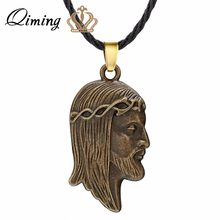 QIMING Bronze Jesus Head Necklace Religious Jewelry Christian Christ Pendant New Trendy Antique Men Jewelry Women Necklace(Hong Kong,China)