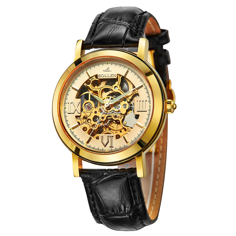 Tourbillon Business mens watches top brand luxury shockproof waterproof leather watch men mechanical automatic wristwatch skelet mobile rack orico 1106ss sata black