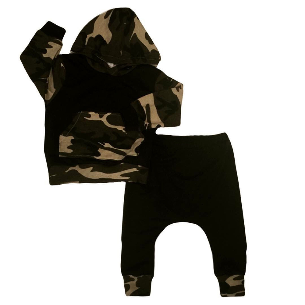 Newborn Kids Baby Boys Camo Tops Hoodie Long Pants 2Pcs Outfits Set Clothes, Camouflage 70 Size