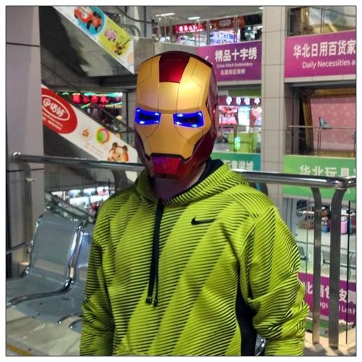 Avengers cartoon toys Iron Man Motorcycle Helmet Mask Tony Stark Mark Cosplay Mask with LED Light Wearable model Free Shipping avengers iron man helmet wearable computer tony stark cosplay mask with led light war damage version for children model toy