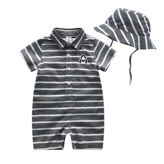 Baby Boy Summer Striped Cotton Coverall Rompers Clothes With Hat Children Short Sleeve Jumpsuits Newborn Kids One-Piece Clothing baby rompers long sleeve baby boy girl clothing jumpsuits children autumn clothing set newborn baby clothes cotton baby rompers