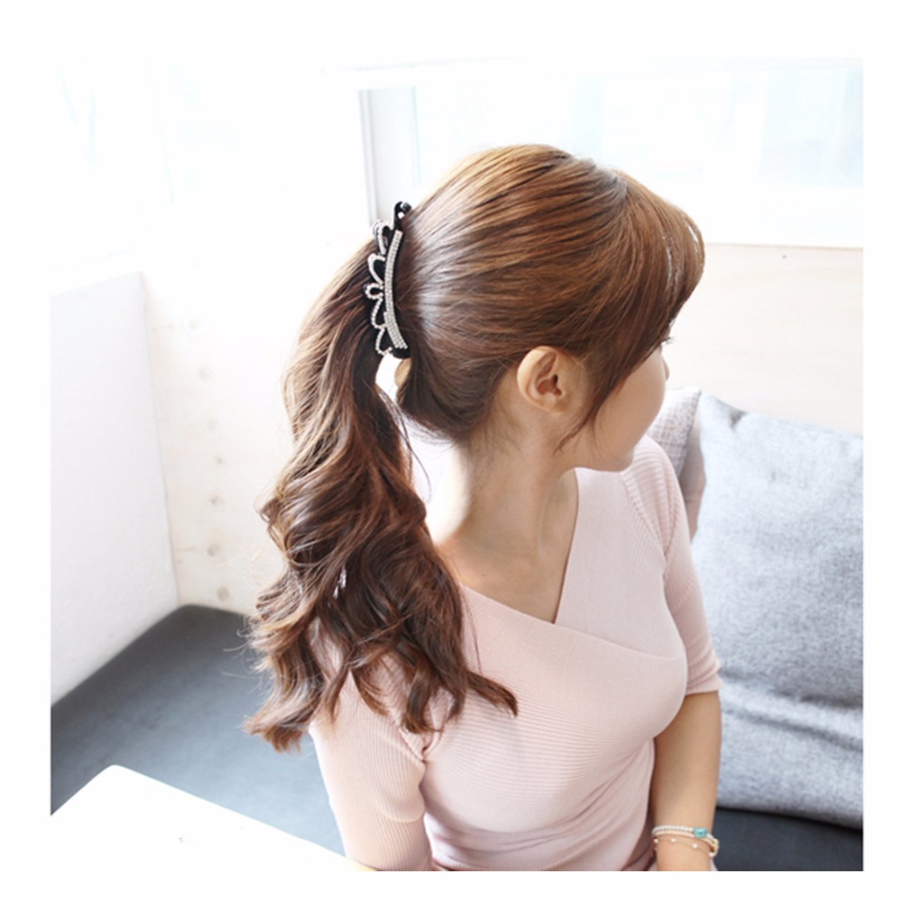 us $3.48 29% off|crown hair pins long barrettes wedding hair accessories ponytail hair clips hair jewelry for women black/brown 10.5cm hc521-in