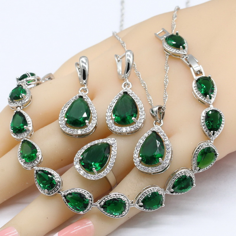 925 Argent Bijoux Ensembles Pour Les Femmes Vert Blanc Cristal Bracelet Boucles D'oreilles Collier Pendentif Anneaux Livraison Cadeau Boîte