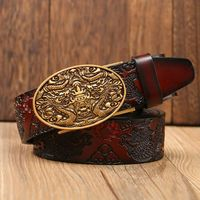 New Retro leather belts for women cowgirl jeans fashion Automatic buckle waist strap brand designer belt men 115 cm