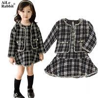 AiLe Rabbit 2017 New Brand Autumn Winter Girls Suit Jacket Dress 2 Pcs Set Classic Black