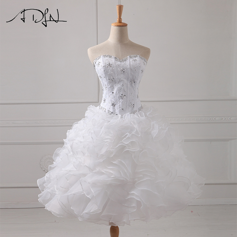 ADLN Real Photo Short   Cocktail     Dress   Sweetheart Sleeveless White Organza Party Gown Curto de Luxo