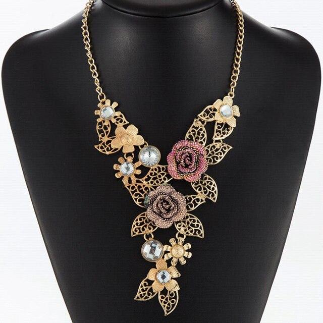 FAMSHIN European Vintage Gold Rose Rhinestone Necklaces   Pendants Link  Accessories Choker Maxi Necklace Women Statement Jewelry 6678caee2160