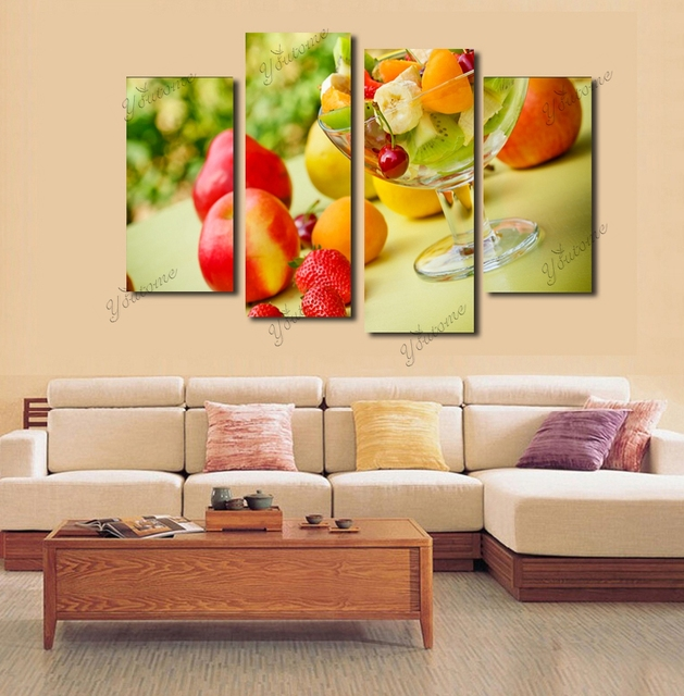 Modern 4 Piece Canvas fruit wall decor home decoration wall art ...