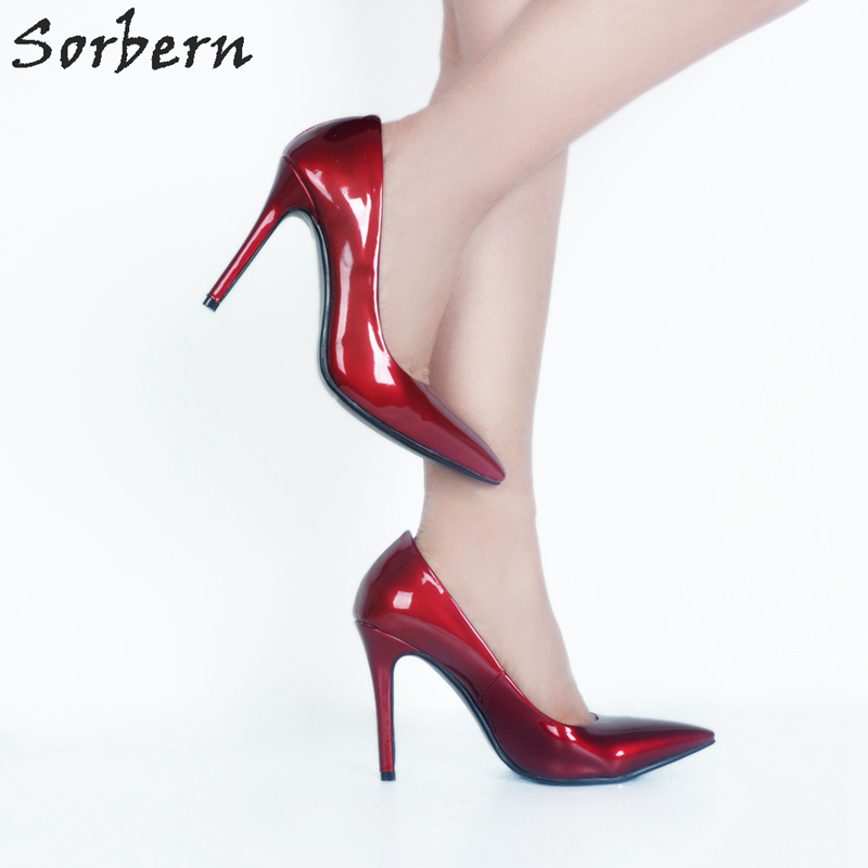 Sorbern Sexy Pointy Toe Women Pump High Heels Stilettos Slip On Ol Shoes Pumps Women Shoes Big Size 34-47 Ladies Shoes Heels orange pointed toe pump women shoes sexy slip on women pumps real image thin high heels ol pump shoes large size 8 heels