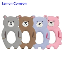Lemon Comeon 1PC Silicone Animal Teether Charm Cartoon Bear Toy BPA Free Baby Ring Beads DIY Chain