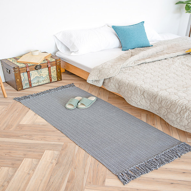 Special Price European Cotton Knitting Solid Printed Tassels Design Rectangle Carpets Washable and Antiskid Decorative Rugs for Bedroom,Parlor