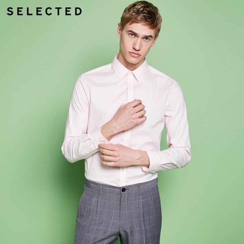 SELECTED New men's cotton micro-elastic tip collar fit business long-sleeved shirt T|418205516