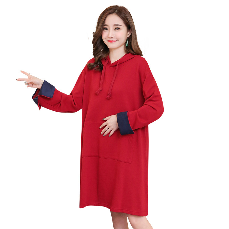 Maternity dress 2017 autumn and winter leisure section large size pregnant women dress fashion letter hooded loose pregnant wome autumn and winter new fashion maternity dress loose large size hooded detachable denim clothing coat pregnant women coat