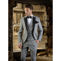 Xám Men Suit Slim Fit Prom Wedding Party Tuxedo Custom Thực Hiện Hiện Đại Blazer Wedding Groom Suits (Blazer + Quần + Vest)