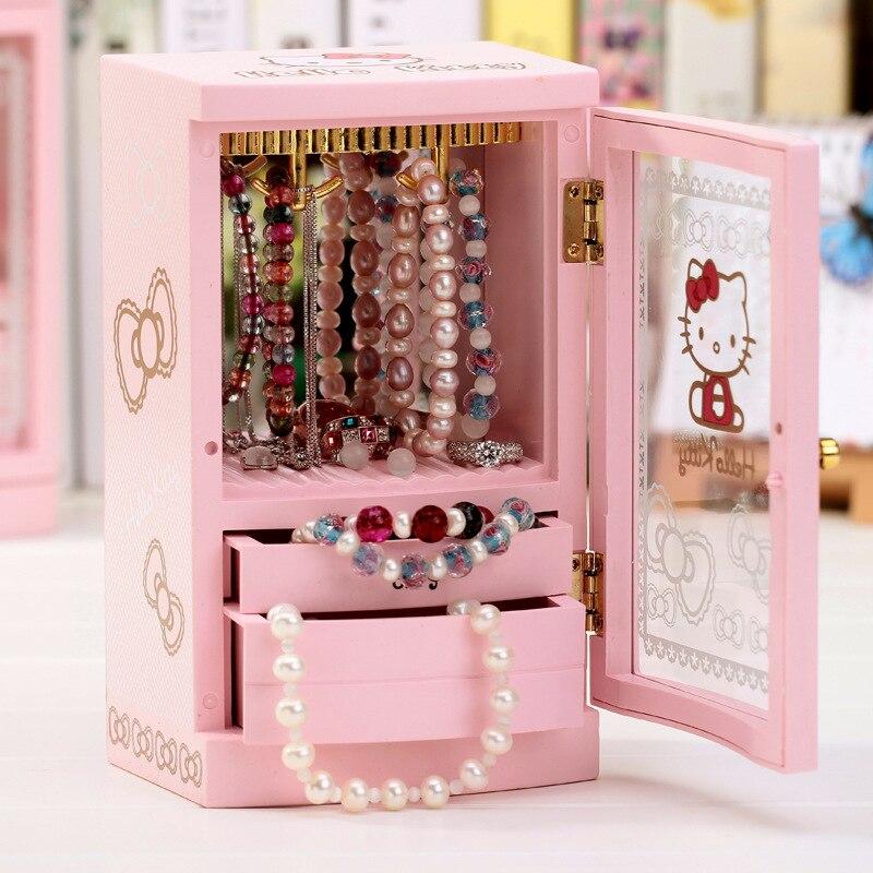 Wedding Music Box Gift: Jewelry Music Box Craft Gift For Girl. Cartoon Pink Wooden