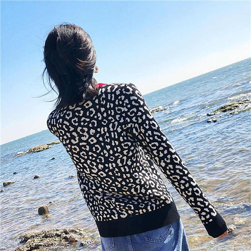 Autunno inverno donna maglioni leopardo lavorato a maglia pullover manica lunga di Colore di Contrasto girocollo pullover sweter mujer C-429