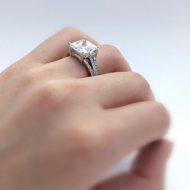 5.97CTW Princess Cut Simulated Diamond 925 Sterling Silver with Gold Wedding Engagement Ring