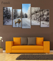 5Pcs Set Landscape Wall Art Poster Highway Colorful Clouds Mountains Canvas Painting For Living Room Wall