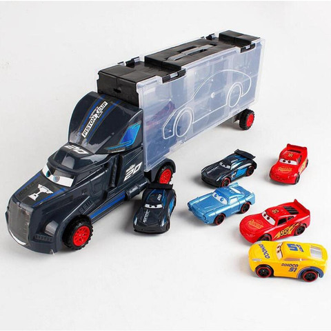 Disney Diecast Metal Alloy Pixar Cars 3 Metal Truck Hauler with 6 Small Cars Disney Cars 3 Jackson Storm McQueen Toys For Kids Lahore