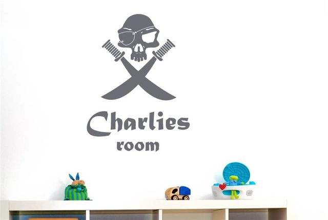 N003 новые персонализированные пиратские черепа с мечами съемные настенные наклейки художественный декор для детской комнаты Бесплатная до...