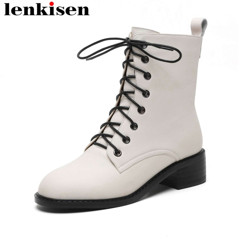 Lenkisen british school lace up solid genuine leather weatern boots thick med heels round toe luxury vintage mid-calf boots L21Lenkisen british school lace up solid genuine leather weatern boots thick med heels round toe luxury vintage mid-calf boots L21